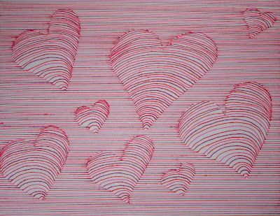 Line drawing with hearts - great for Valentine's (Runde's Room)