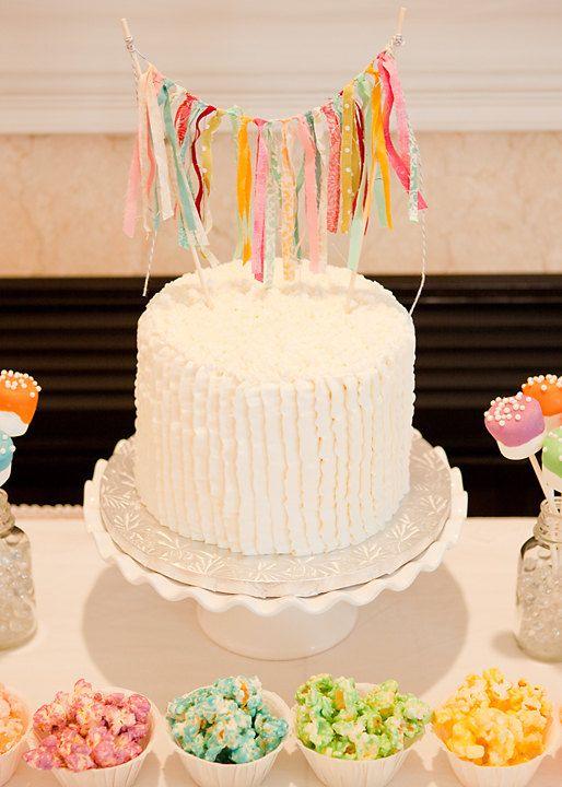 Tela tiras Cake Bunting pastel de cumpleaños por BellasBunting