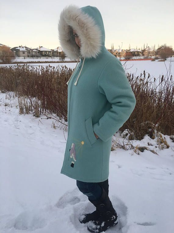vintage eskimo parka wool with fox fur trimmed hood and