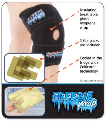The Knee Freezie Wrap treats your pain and inflammation fast.  $63.45 ~ Knee Freezie Wrap with 3 gel packs. ~ 24 to 72 hours after injury to stop cellular damage, relieve pain and decrease swelling ~After exercise, workouts to prevent re-injury of your knee joint ~Before & after surgery during rehabilitation to control pre & post-surgery pain & swelling ur knee has been over-extended, over-worked ~ have swelling, sharp throbbing pain or inflammation