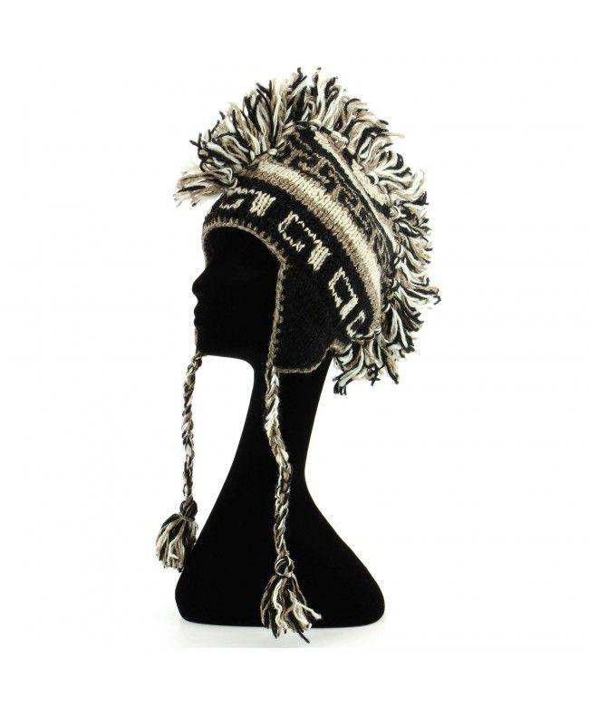 LOUDelephant 'Punk' wool knit Mohawk hat - Black & natural
