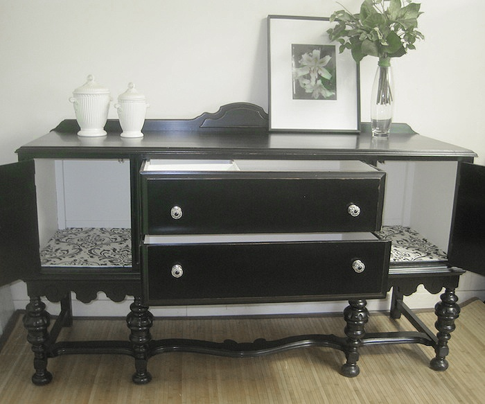 black painted furniture ideas. Black Painted Sideboard With Damask Interior Furniture In Toronto At Www.portaverdestudio.com Ideas