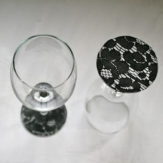Super cute DIY idea...lace on stemware, kind of love it.