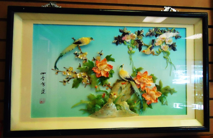 Asian semi precious and mother of pearl 3D framed artwork!  #TheCornerShoppe