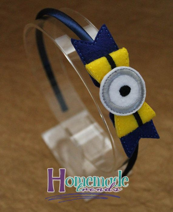 Despicable One-Eyed Guy Bow-Character Hair Accessory-Bow Headband or Clip-One Eyed Despicable Guy Headband-One Eyed Yellow Guy Accessory
