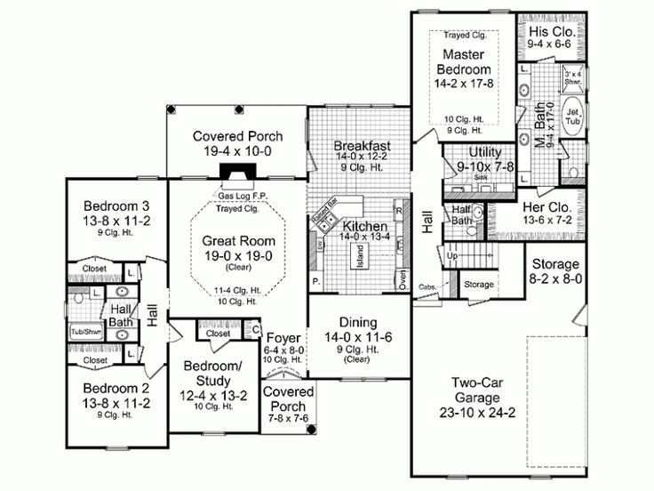 Floor plan ideas no garage all right side ontop of for House plans with no garage