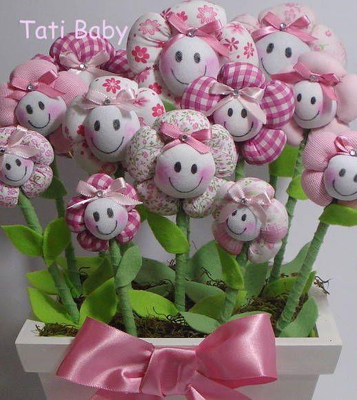 Maceta de flores de tela para habitación de niña