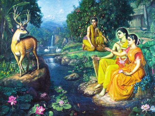 arjuna-vallabha:  Sita, Rama and Lakshmana and the golden deer at Panchavati,  painting by Satchitananda Das