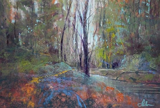Secret Stream--price includes conservation framing by Tom Christopher Pastel ~ 18 x 24