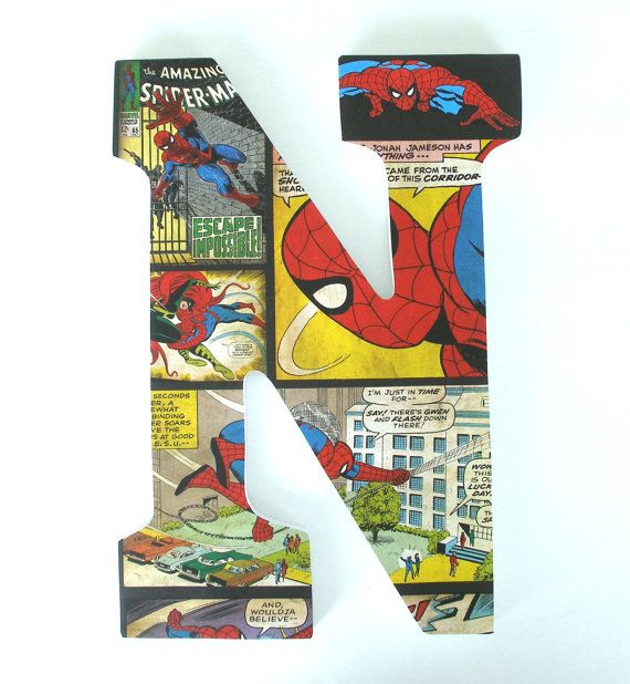 Spiderman Wooden Letters For Bedroom   Baby Boy Nursery Decor   Superhero  Marvel Comics Wall Decorations