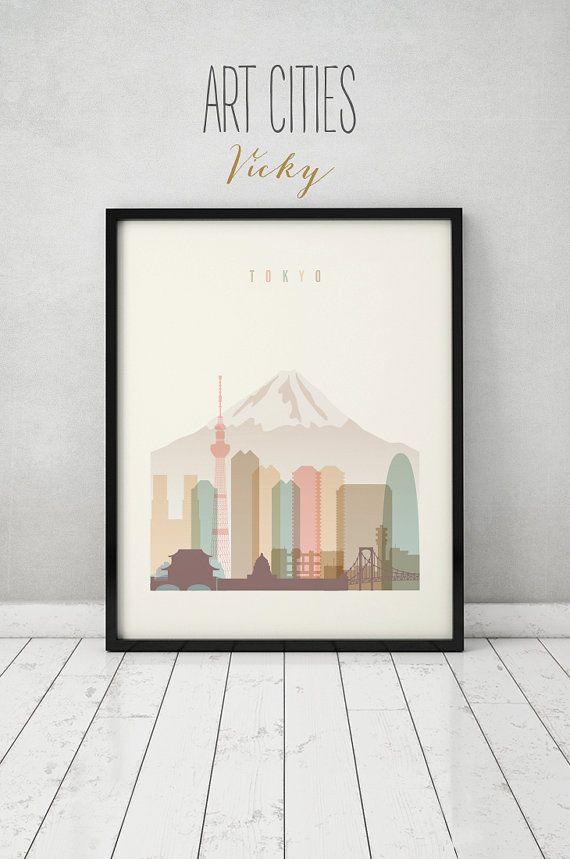 Tokyo print, Poster, Wall art, Tokyo skyline, Japan cityscape, City poster, Typography art, Home Decor, Digital Print, ART PRINTS VICKY.