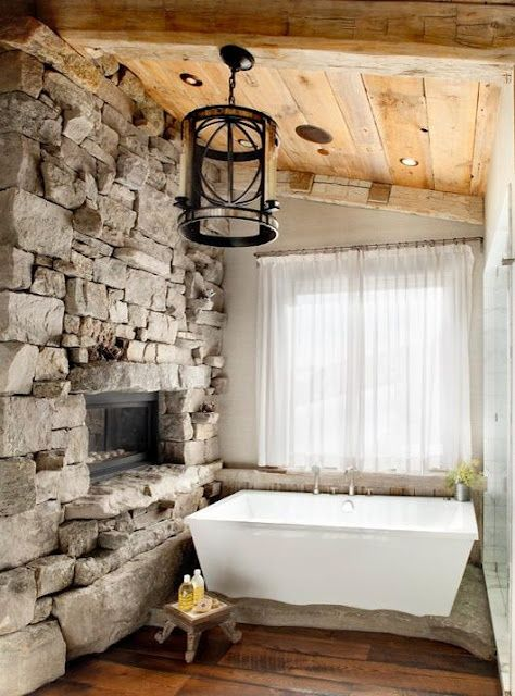 51 Inspiring Bathrooms With Fireplaces : 51 Spectacular Bathrooms With Fireplaces With Stone Bathroom Wall White Bathtub Shower Fireplace Wi...