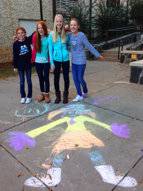 Students work in groups to draw a person and describe their clothing.