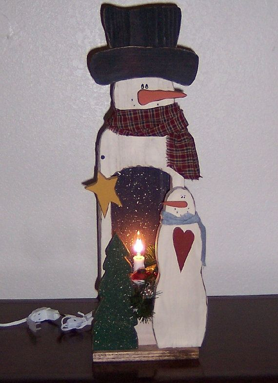 Primitive Wood Snowman Light Box by thedawnofcreation on Etsy