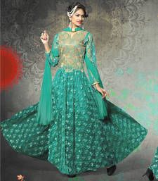Buy Bottle green net embroidered semi stitiched salwar with dupatta party-wear-salwar-kameez online