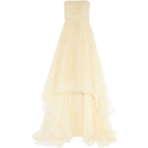 Oscar de la Renta Strapless embellished tulle gown found on Polyvore