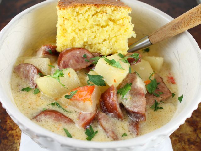 Cheesy Smoked Sausage and Idaho Potato Soup ~ Slow Cooker Recipe from missinthekitchen.com