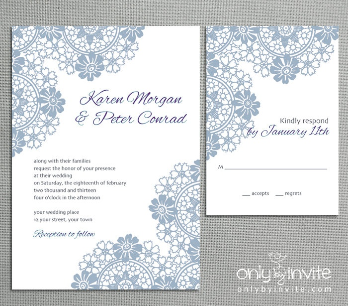 Lace Classic Vintage Printable Wedding Invitation DIY Roses Flowers