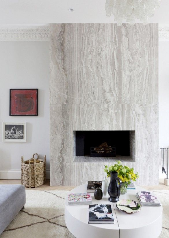 Generally this is too modern for my taste, but I love that fireplace. Would a Lucite mantel work with???  via @mydomaine