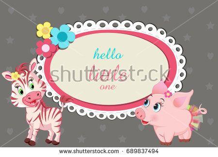 baby shower / birthday invitation with cute little baby animals