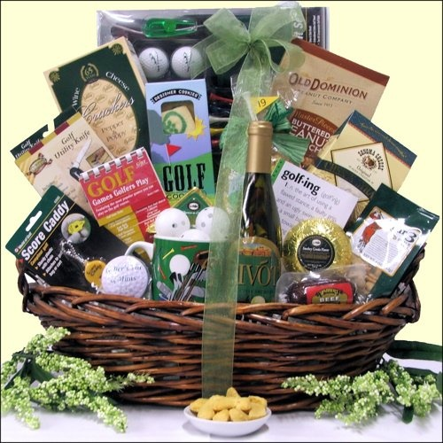 Fathers Day gift ideas, Father's Day gift baskets, Fathers Day gift basket, divot tool, ball marker, golf towel, golf balls, tees, snacks, cookies, crackers, cheeses. $159.99  http://www.oldtimechocolates.com/store/fathers-day-gift-baskets/hole-in-one-golf-gift-basket-777700000403032/