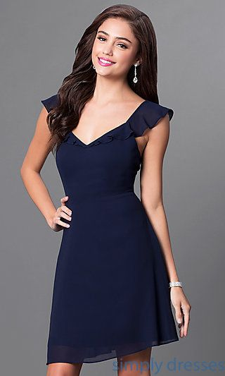 Shop navy blue short chiffon dresses and party dresses at Simply Dresses. Homecoming dresses with ruffles and semi-formal dresses for weddings.