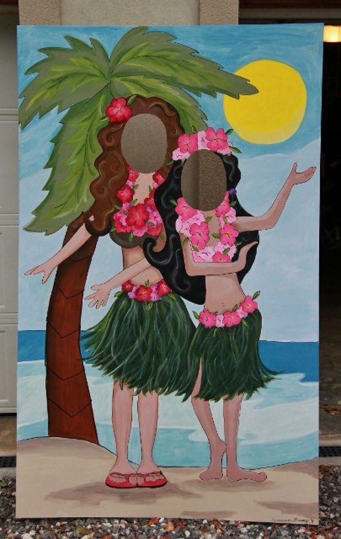 Hawaii feestje inspiratie: foto bord om achter te gaan staan