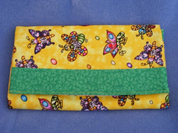 Trifold Fabric Clutch Wallet with Butterflies and by SpiritPenny, $33.00