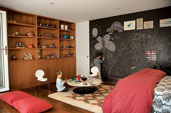 20 Playroom Design Ideas - Decoist: chalkboard paint mural :): Playrooms Ideas, Kids Playrooms, Playrooms Design, Plays Rooms, Chalkboards Paintings, Chalk Wall, Chalk Boards, Chalkboards Wall, Kids Rooms