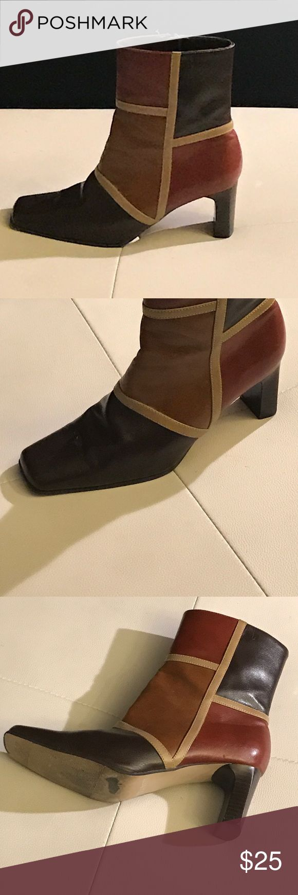 👢 Multicolor Short Ankle Boots Excellent Condition, side zipper, very little scuffs, square heel. Nice! Transit Shoes Ankle Boots & Booties