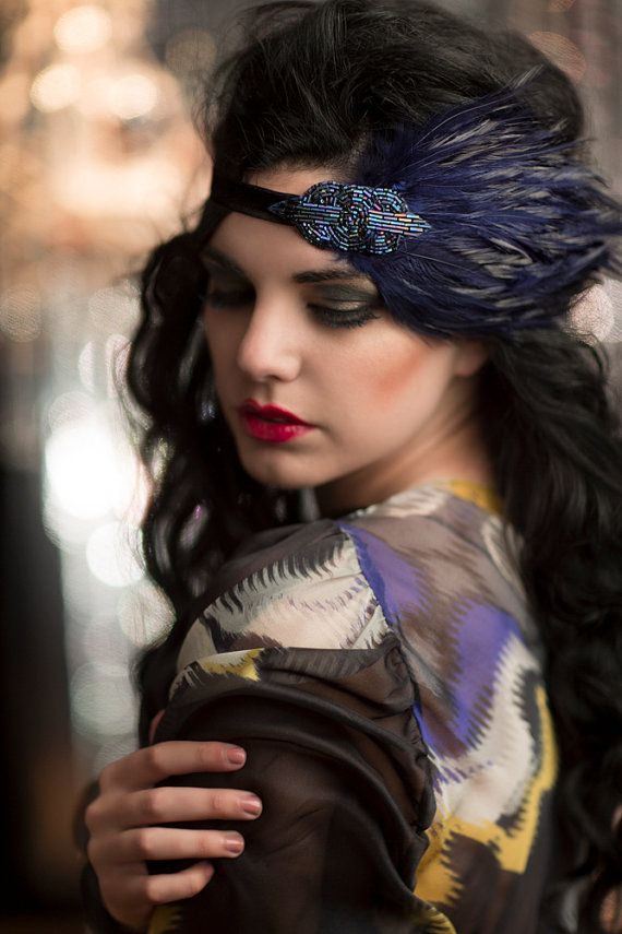 Roaring 20s Headband, Great Gatsby Headpiece, Art Deco Flapper Headband, 1920's Headpiece, Blue Purple Beaded Headband with Navy Feathers