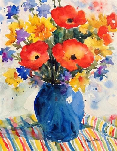 """Daily Paintworks - """"Poppies and Stripes"""" - Original Fine Art for Sale - © Nancy F. Morgan"""