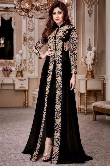 Attractive Black Color Georgette Heavy Gold Embroidered Traditional Partywear Pant Style Salwar Suit