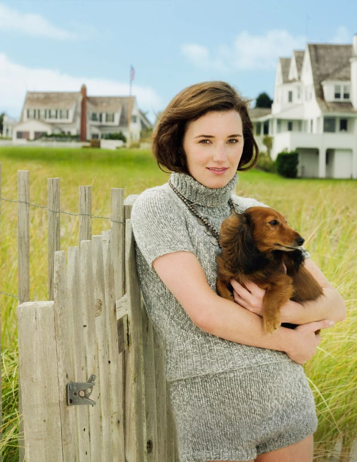Kick Kennedy and her dachshund Cupid, at the Kennedy compound in Hyannis Port.