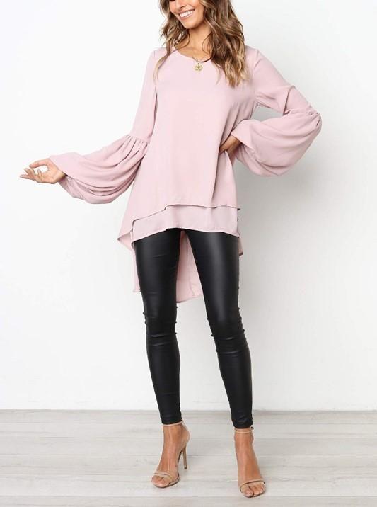 ca6a253672e2 Casual Pure Color Slim Hubble Bubble Sleeve Irregular Hem Top T-Shirt Royal  Pink l #T-shirt #hornsleeve #fashionoutfit #tops #womenpopular #stylishvovo