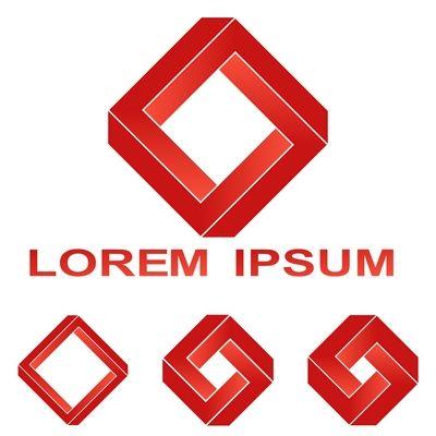 Red Penrose rectangle technology company symbol set