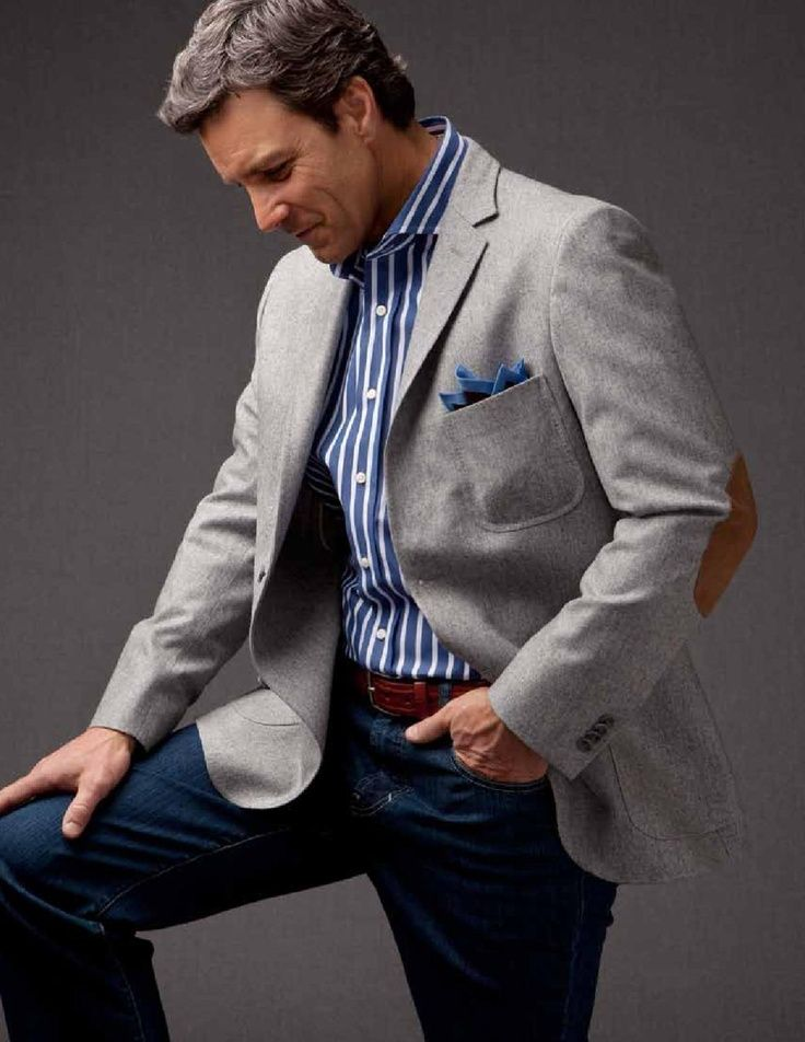 Gray Sports Coat With Brown Shoes