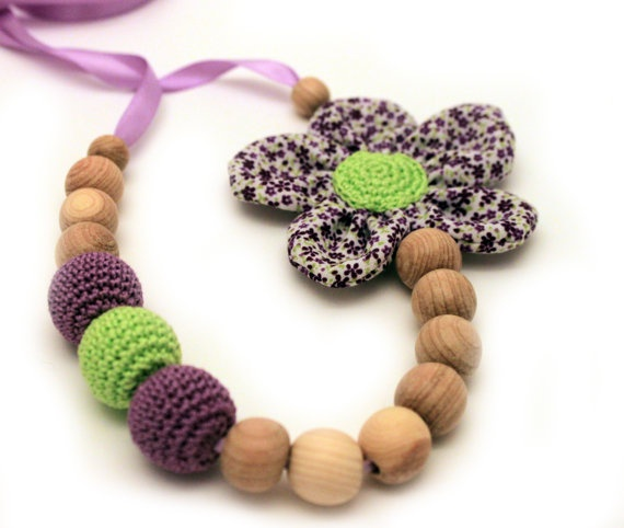 Nursing Necklace/ Crochet Fabric Flower Necklace / by CasaDeGato, $24.00