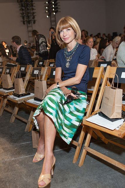 anna wintour, her hair is a signature but she always knows how to put on a necklace