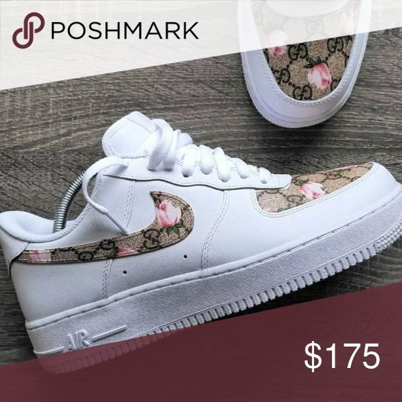 Custom Nike X Gucci Air Force 1 THESE ARE CUSTOM! Shoes are newly ordered, then customized and shipped. Whole process could take up to 1 month to be delivered. Patience is asked. All sizes available for men and women.   THIS IS A PROJECT EXCLUSIVE, EXCLUSIVE LISTING.  ORDERS ONLY ACCEPTED ON OUR SITE Nike Shoes Sneakers