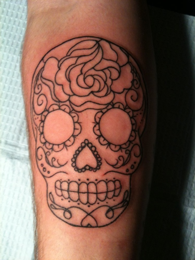 sugar skull tattoo loves it- I don't want full color. I want line work in diff colors not shaded or filled in