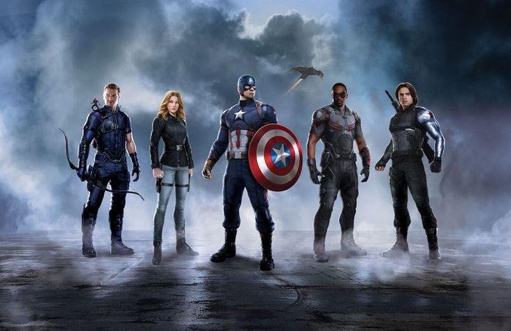 Captain America Civil War - L'équipe Captain America : Hawkeye (Jeremy Renner), Agent 13 (Emily VanCamp), le Faucon (Anthony Mackie) et le Soldat de l'Hiver (Sebastian Stan)