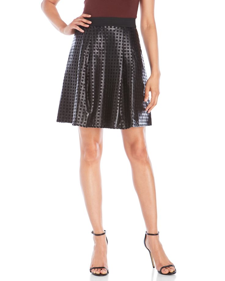 Save The Queen Faux Leather Skater Skirt