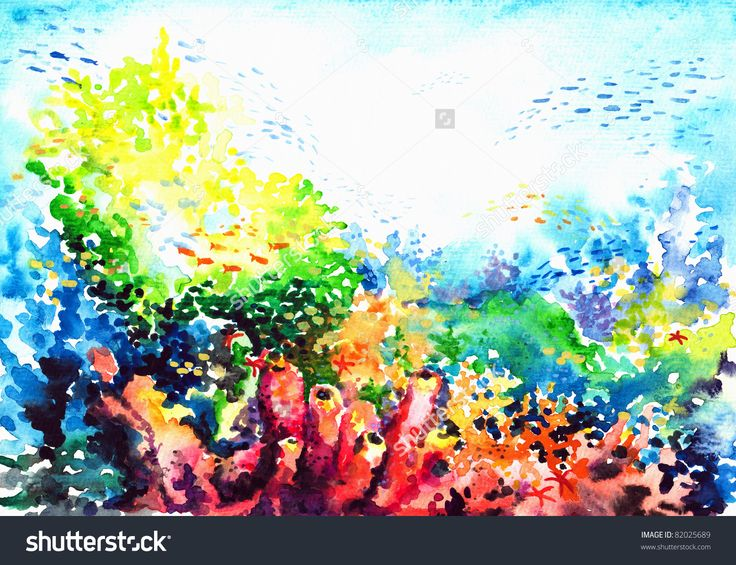 Underwater Landscape With Coral Reef Watercolor Painted. Stock ...