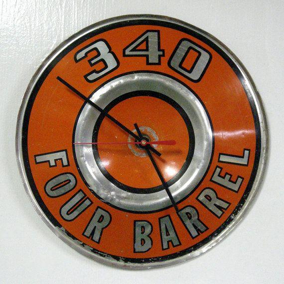 Man Cave Garage Clocks : Dodge plymouth wall clock four barrel mopar dart