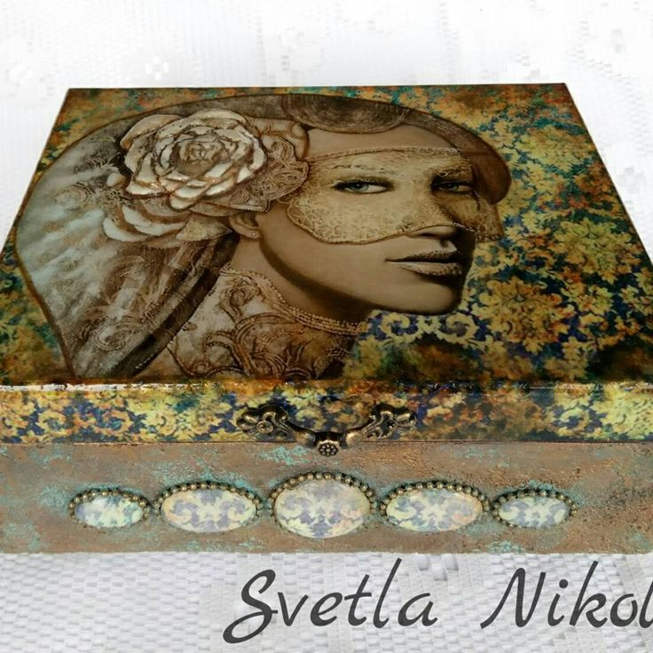 "66 Likes, 1 Comments - Svetla Nikolova (@svetla.nikolova.handmade) on Instagram: ""Box for jewellery ,,Look at me"" #handmade #handmadedecor #decoration #decor #decoupage #gifts…"""