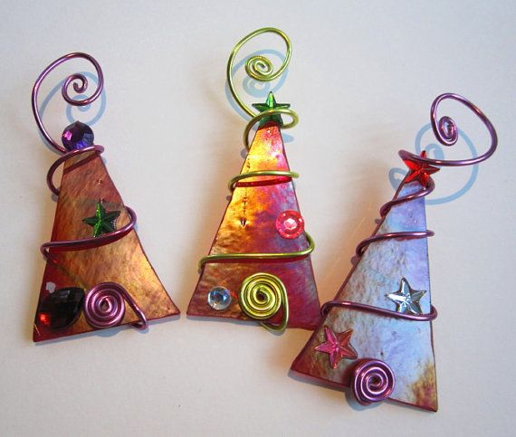 Red Tree Trio Glass Ornaments - Wire Wrapped