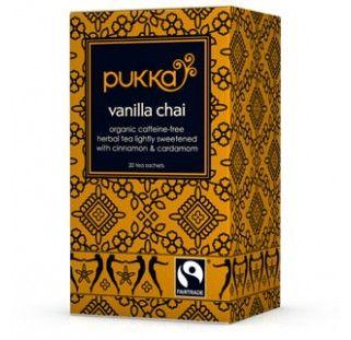 Vanilla Chai tea with organic cinnamon. Fairtade - Pukka Herbs incredible organic herbs