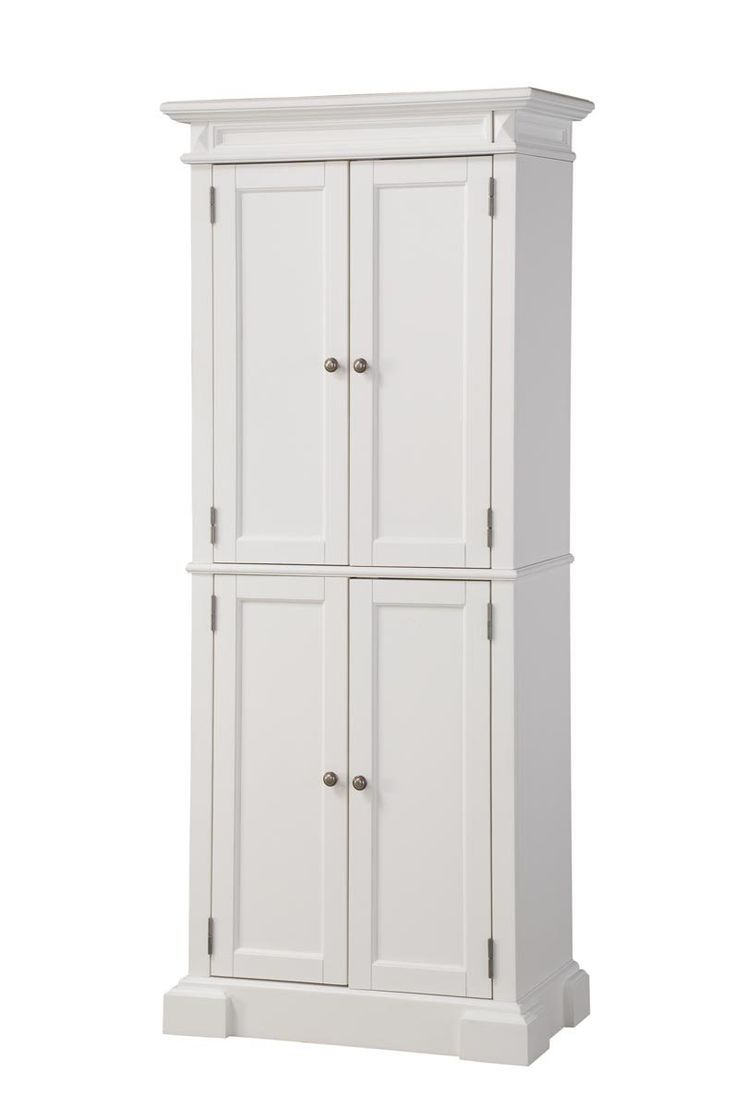 Home styles 5004 692 americana pantry storage cabinet white finish free standing - Kitchen pantry cabinets freestanding ...