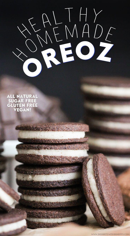 Healthy Homemade Oreos recipe (sugar free, gluten free, dairy free, vegan) - Healthy Dessert Recipes at Desserts with Benefits #glutenfree